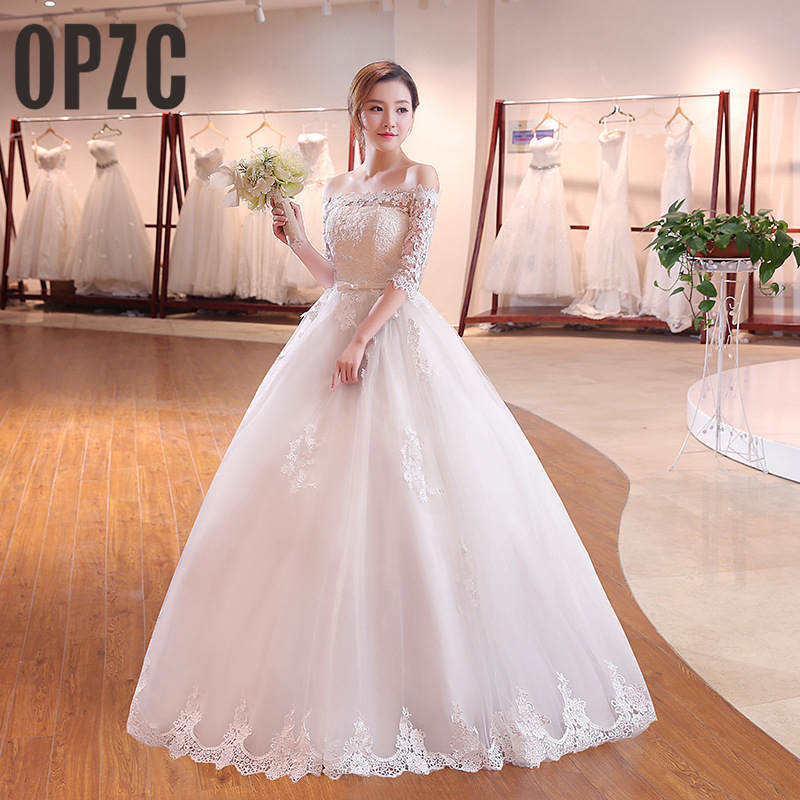 Korean Style 2018 New Arrival High-grade Lace Wedding Dress Boat Neck Half Sleeve Gown Princess Bow Ball  Gown  wedding gown