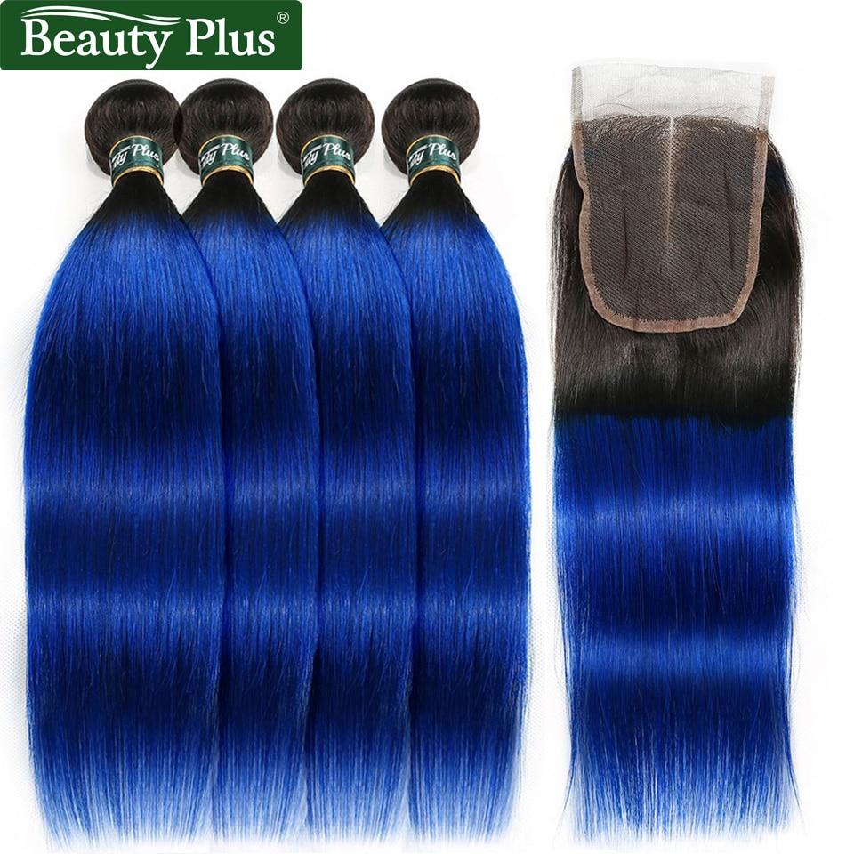 4 Bundles With Closure Dark Roots 1B Blue Brazilian Straight Human Hair Beauty Plus Nonremy Straight
