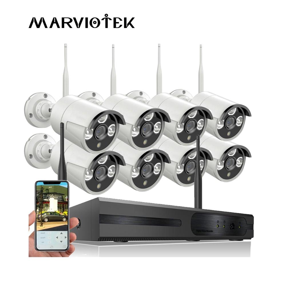 купить 8CH CCTV camera system wireless camera surveillance system wifi nvr kit CCTV wifi Camera Set 960P IP camera outdoor ONVIF P2P IR по цене 6745.35 рублей