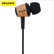 AWEI Q9 Earphone In Ear Fone de ouvido Wooden Earphone Stereo Auriculares Audifonos Nylon Weave Wire Headset Ecouteur Kulakl k