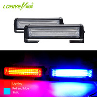 LDRIVE 2PCS 36W/Kit Red Blue Car Truck LED COB Strobe Flash Flashing Warning Grille Light/DRL Emergency Day Driving Light