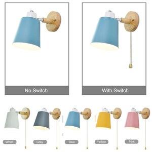 Image 4 - Holz wand lichter nacht wand lampe mit schalter moderne wand ligh Nordic macaron wandlampen schlafzimmer restaurant wohnzimmer lenkung