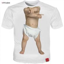 YFFUSHI 2018 Mannelijke 3D T-Shirts Grappige Baby Groot Tops Mode Hoge Kwaliteit Leuke Kid Print Tshirt Mannelijke / Vrouwelijke Zomer Tees Plus Size