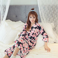 The new fashion simple and comfortable kimonos cherry red robe pink black pink even code