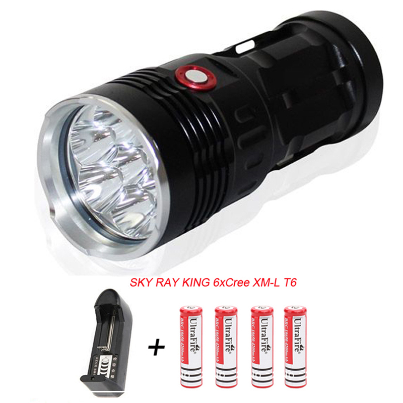 SKY RAY KING 6T6 6 x XM-L T6 8000 Lumens 3 Mode LED Flashlight + 4*18650 Battery+ Charger Lamp for Underwater Hunting Torcia Led kinfire k40x 4 led 2000lm 3 mode white flashlight gray 4 x 18650