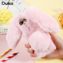 DULCII For iPhone5s iPhone6 Case Cute Bunny Rabbit Warm Fur TPU Cover for iPohne SE 5S 5 6 7 Fluffy Protect Back Shell(China)