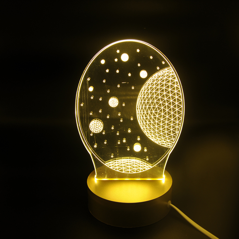 Acrylic round star LED Lamp 3D Night Light Sleeping Lighting 5V USB Small led table Lamp Big white Creative Small 3D Lamp 3d led lamp usb night love heart