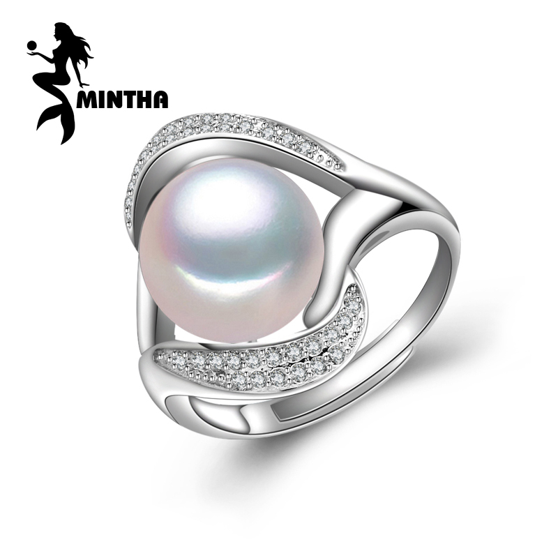 MINTHA 2018 New,Pearl Rings For Women,925 Sterling Silver Ring,Natural Pearl Beads Big Size Ring,party Rings Fine Jewelry