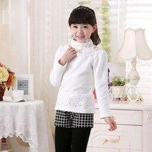 Autumn and winter wear Korean girls shirt lace collars Kids cotton long sleeved T-shirt Girls clothes sweater bottoming shirts