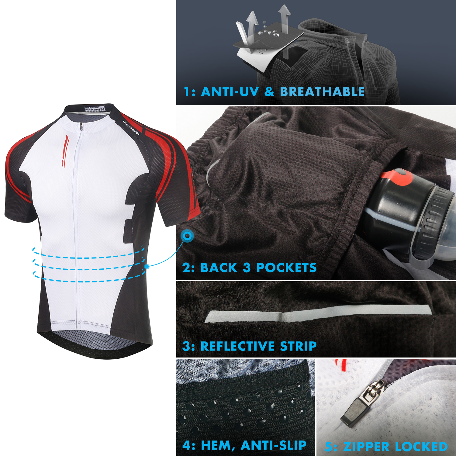 Queshark Summer Cycling Jersey Breathale Mountain Bike Clothing Quick-Dry Racing MTB Bicycle Clothes Uniform Cycling Suit Set 3