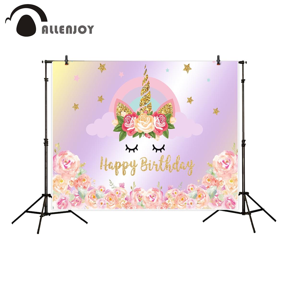 Allenjoy backdrop for photographic studio Golden Pink Stars Rainbow Unicorn Flower Happy Birthday background new photocall