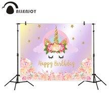 Allenjoy bakgrund för fotografisk studio Golden Pink Stars Rainbow Unicorn Flower Grattis på födelsedagen bakgrunden ny photocall
