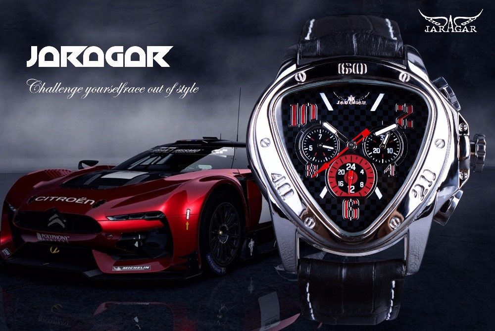 Top Brand Jaragar Luxury Automatic Sports Racing Wrist Watch Geometric Triangle Design 1