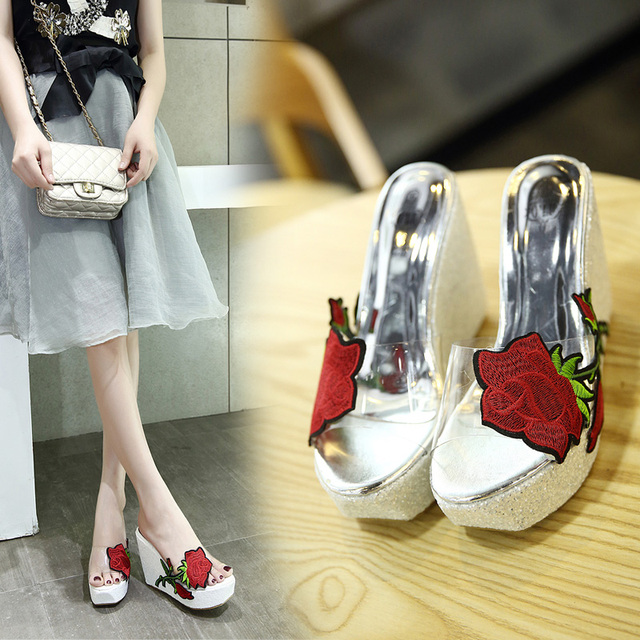 New Rose Women Sandals 2017 Fashion Transparent Sandals High Heels Pumps Shoes Wedges Thick Crust Muffin Slippers Shoes
