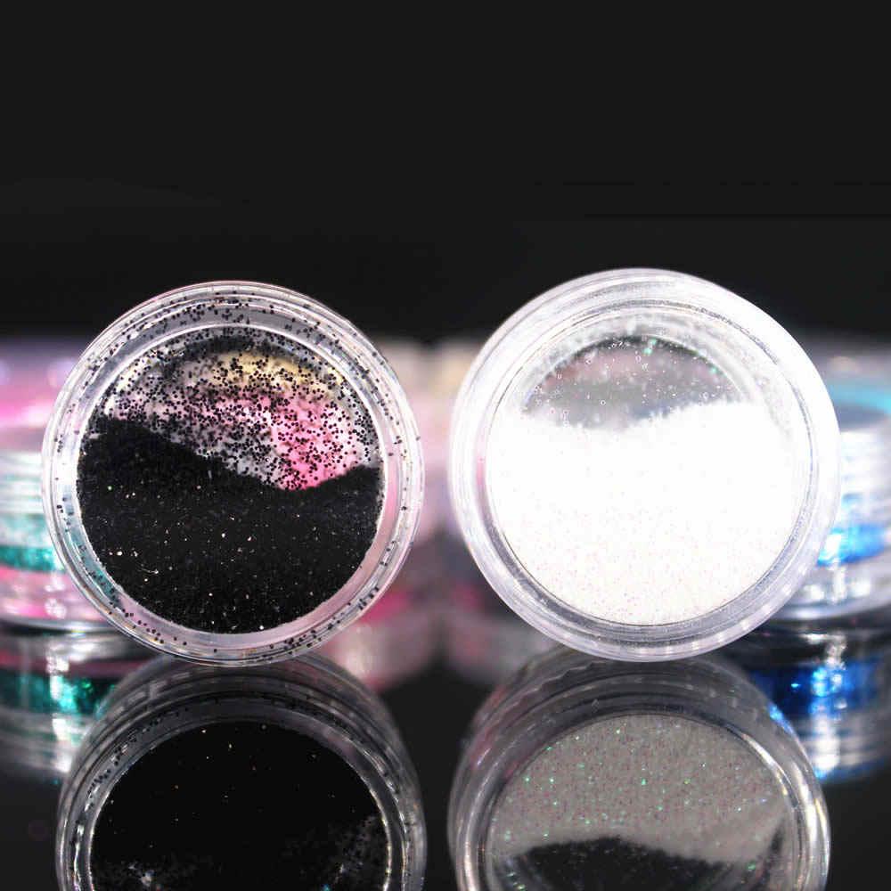 (1 Pcs/למכור) 12 צבעים גליטר נייל אמנות אבק כלי ערכת אקריליק פנינה פולני נייל כלים 3D נייל אמנות קישוטי נייל גליטר אבקה