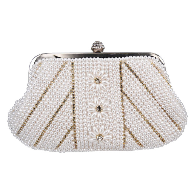 Fashion Pink Pearl Women Party Purse Beaded Wedding Bag White Soft Evening Prom Clutch