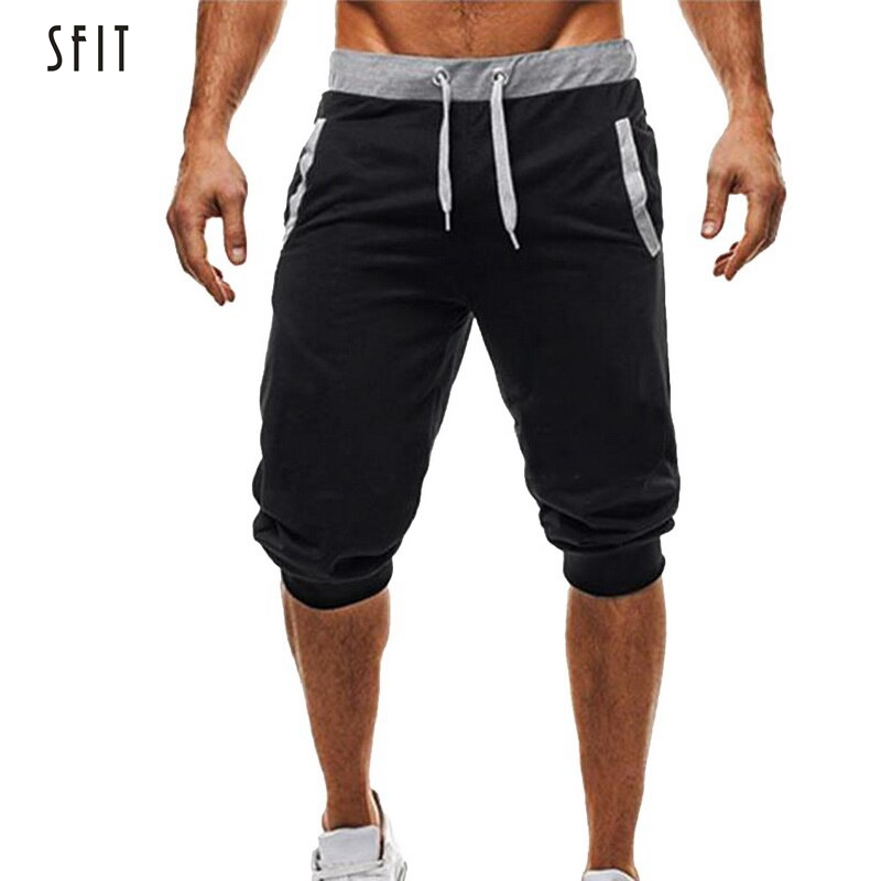 SFIT Men Baggy Jogger Casual Slim Harem Shorts Soft 3/4 Trousers Fashion New Brand Male Sweatpants Summer Comfy Men Shorts 2019