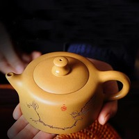 180/270ML Yixing Purple Clay Teapot Hand Painted Flower Bird Pattern Raw Ore Duan Mud Zisha Pot Tea Ceremony Tieguanyin Kettles