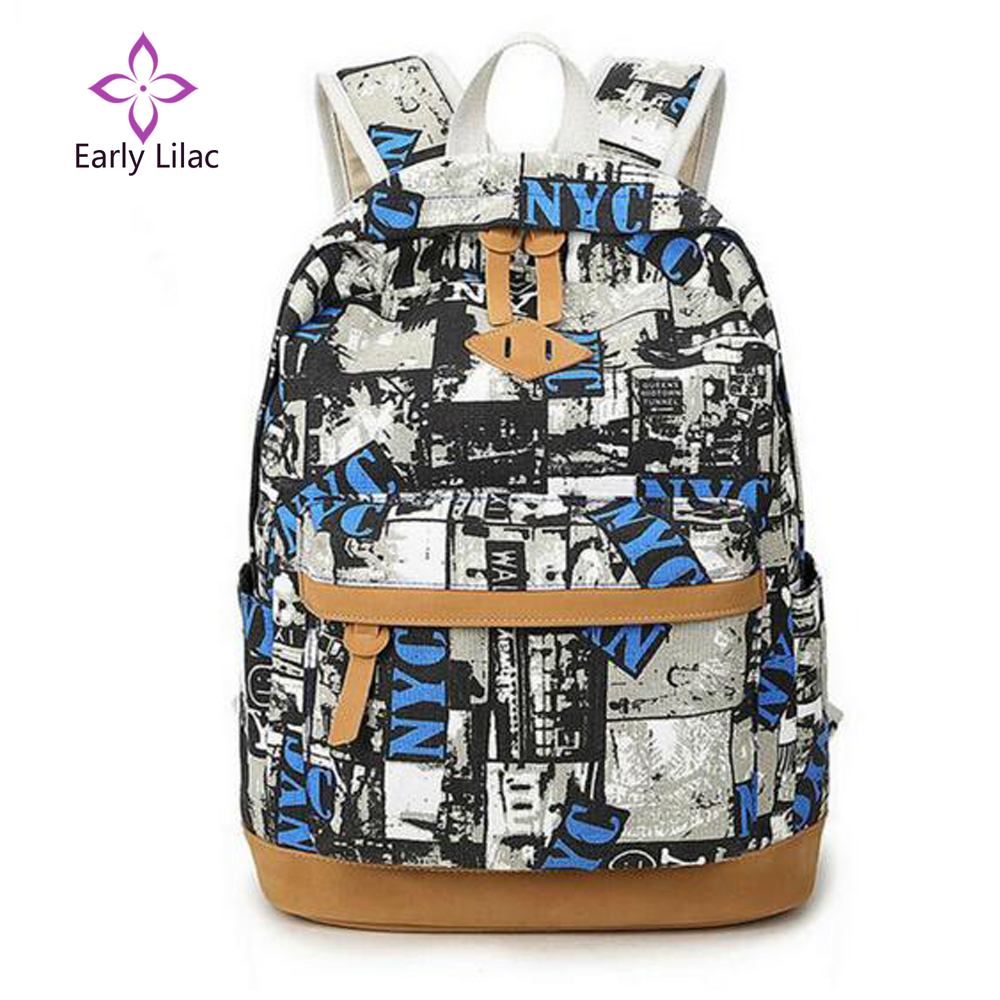 Early Lilac New Landscape Printing Canvas Backpack laptop rucksack Travel student School Bags for Teenagers girls mochila bolsa kpop graffiti printing backpack city night scene large capacity travel student backpack school bags rucksack backpack mochilas