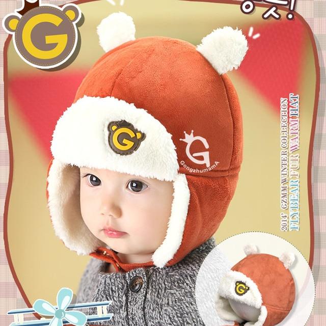 Corée Bébé Garçon chapeaux D hiver de Velours Chaud Enfants Bonnet d hiver  Mignon 3f5dc0ce935