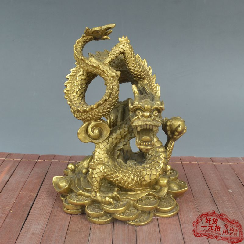 Statue de dragon d'enroulement de fengshui de décoration de cuivre de la chine