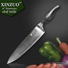 XINZUO 8 inches chef knife 73 layer Japanese VG10 Damascus kitchen knife High quality sharp chef knife wood handle free shipping