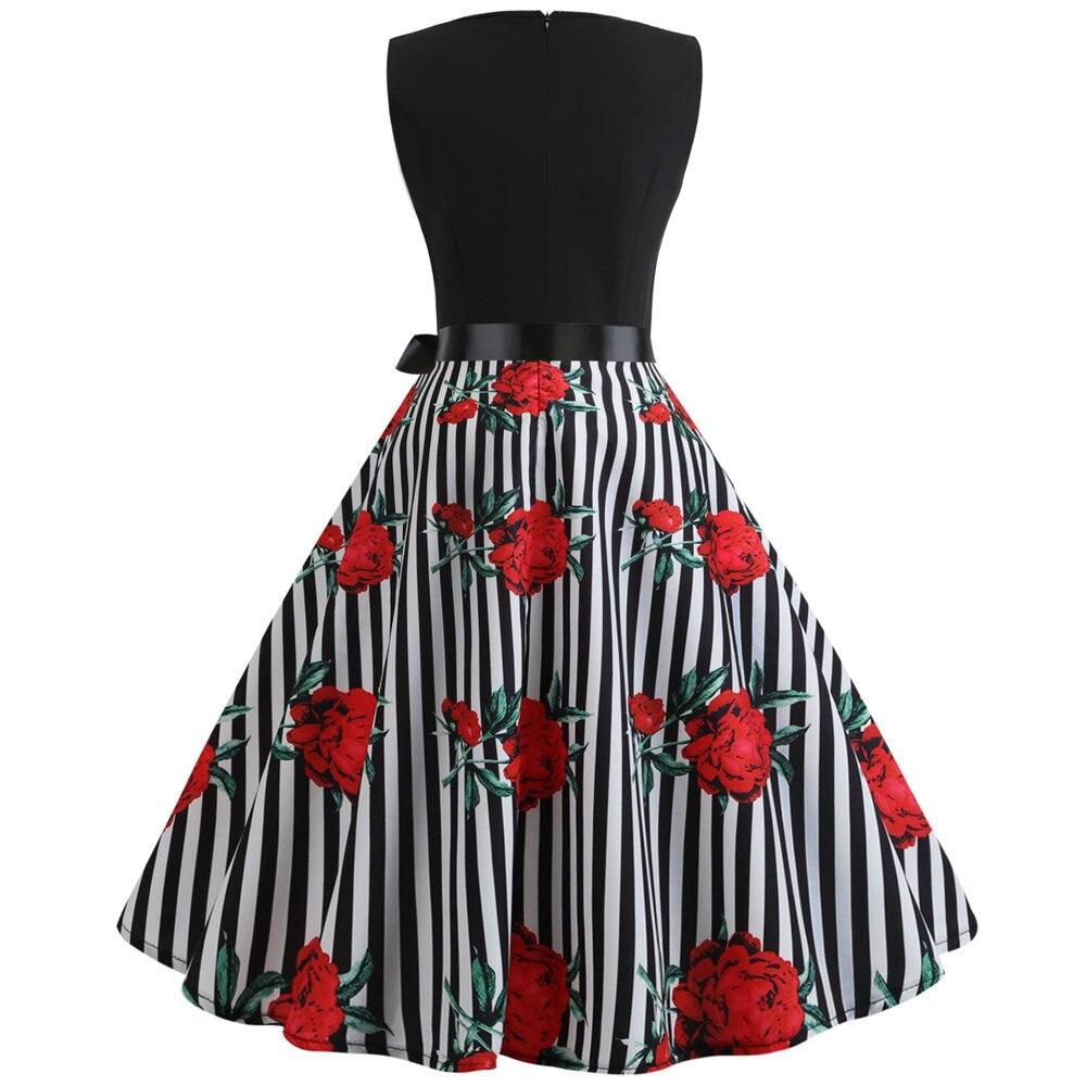 HTB1VYU.biLrK1Rjy1zdq6ynnpXaZ Women Summer Dresses 2019 Robe Vintage 1950s 60s Pin Up Big Swing Party Work Wear Rockabilly Dress Black Polka Dot Vestidos