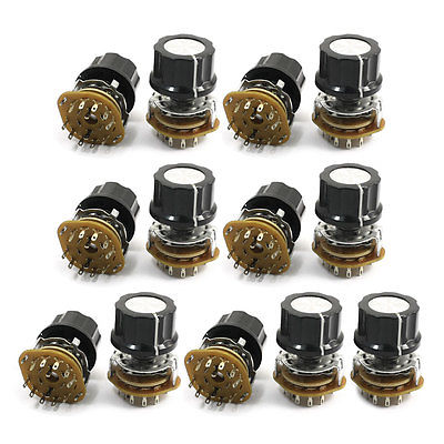 2P5T 2-Pole 5-Position 9mm Thread 6mm Knurled Shaft Selector Rotary Switch 13Pcs [ lock ] side press the switch 10mmx10mm shaft length 9mm