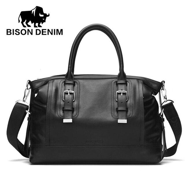 Bison denim homens maleta bolsa saco do mensageiro 14 polegada laptop saco pastas de couro homens pasta do negócio ombro ocasional n2392