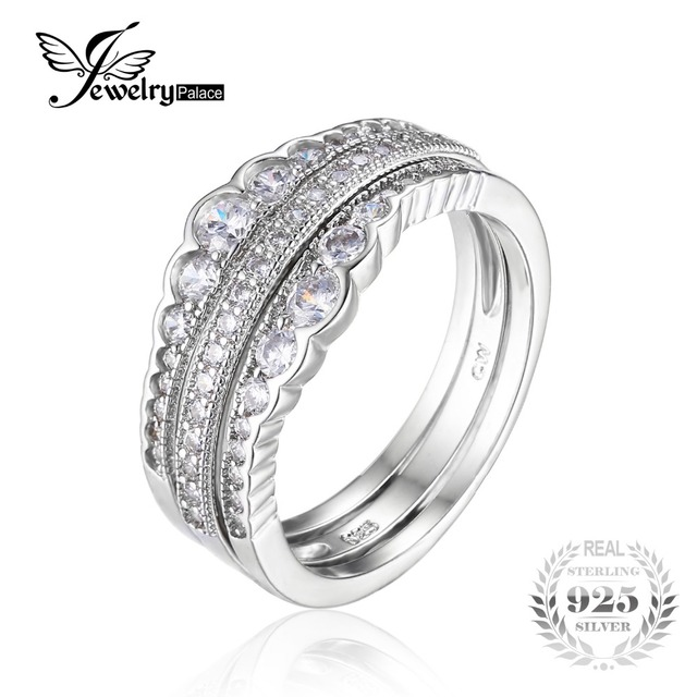 JewelryPalace 0.7ct Cubic Zirconia 3 Pcs Stackable Wedding Band Anniversary Engagement Ring Bridal Sets 925 Sterling Silver