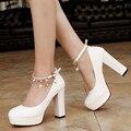 2017 de Lujo de la Plataforma Inferiores Rojos de los Altos Talones Zapatos Mujer Bombas zapatos de boda de novia de la correa del tobillo lolita Lolita zapatos de las señoras