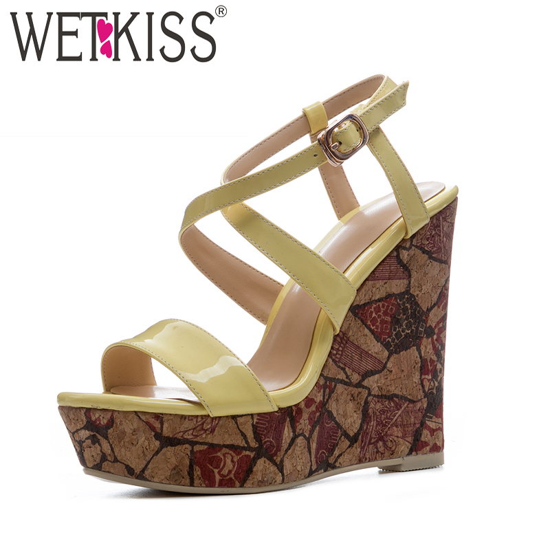 WETKISS High Heels Women Sandals Buckle Wedges Cross Strap Open Toe Footwear Summer Fashion Ladies Platform 2018 Printing Shoes hot 2018 summer new fashion women sandals wedges shoes high heel sandals platform open toe buckle casual shoes