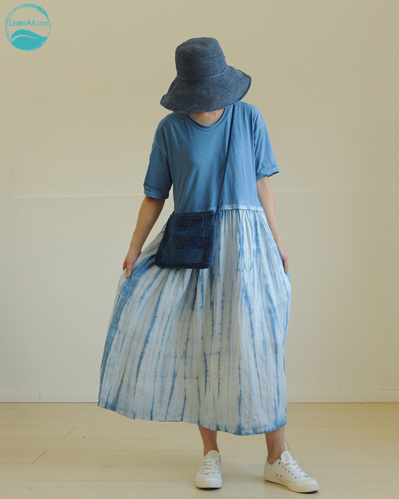 LinenAll original women's summer rain <font><b>indigo</b></font> hand-dyed plants blue dye knitted 100% linen patchwork <font><b>dress</b></font> robe