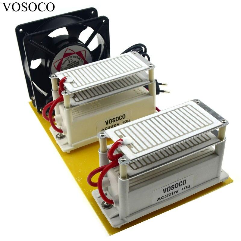 Portable DIY Générateur D'ozone 220 v 20 g/h Longue Durée de Vie En Céramique Plaque Ozoneur eau Air stériliser Purificateur traitement