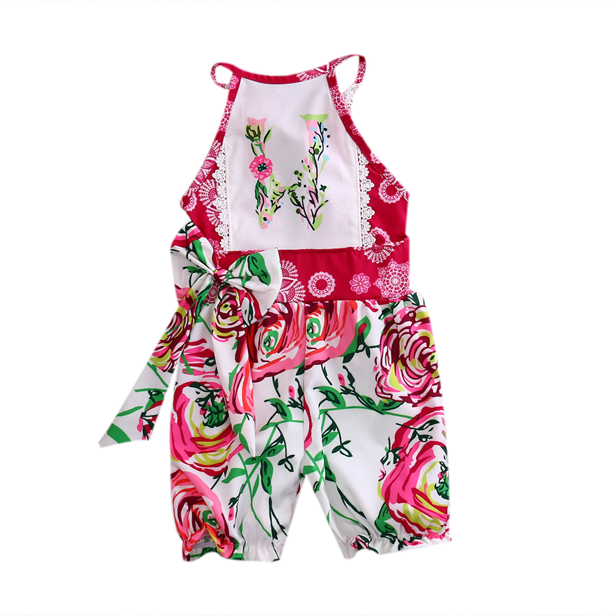 Summer 2017 Baby Girl Clothes Halter Floral Bownot Romper Suit Set Clothes Jumpsuit Outfits Summer