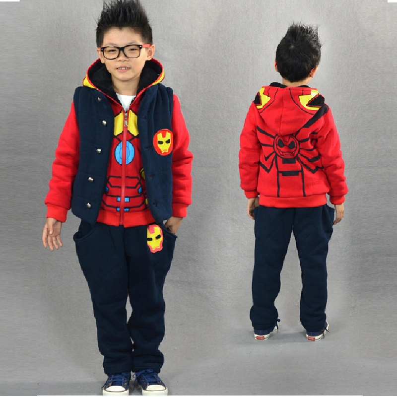 Iron Man Children Kids Boys Clothing Set 2016 Sports Thickening Winter Suits 3 Piece Vest font