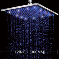 LED Color Changing 12 Square Rain Shower Head Wall Mounted Shower Chrome Finish Top Shower Sprayer HG 5202