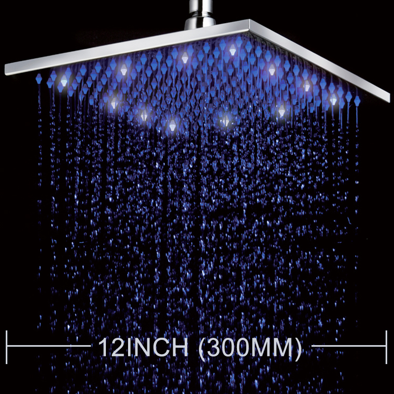 Superfaucet LED Color Changing 12 Square Rain Shower Head Wall Mounted Shower Chrome Finish Top Shower Sprayer HG-5202 12 led square rain shower head wall mounted shower arm w shower hose top over shower sprayer