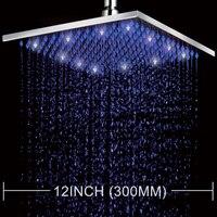Freeshipping 12 Square LED Shower Head Rain Shower Rainfall Shower Set High Pressure Shower Head