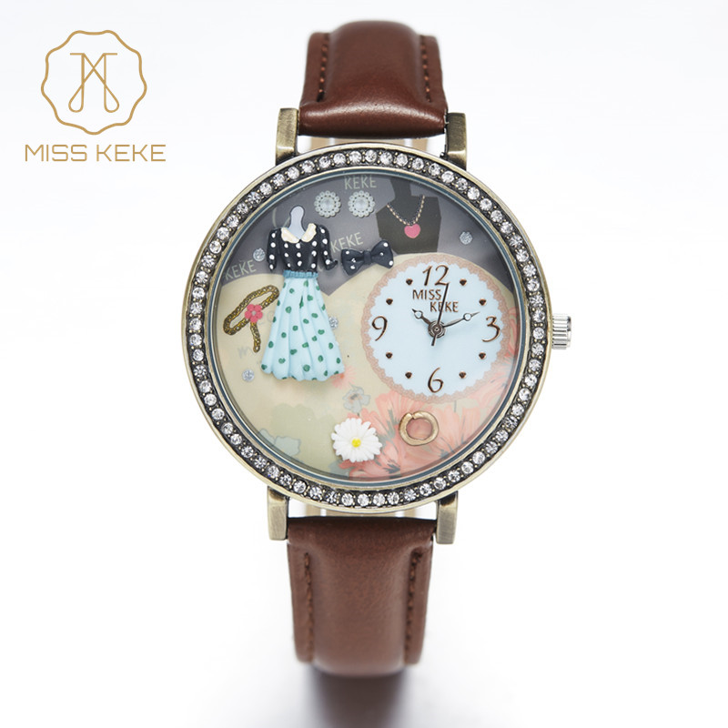 Miss Keke Clay Cute Creative Unique Dresses For Women Watch Relogio Feminino Ladies Quartz Leather Rhinestone Wristwatches 671