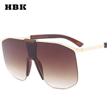 HBK สแควร์ขนาดใหญ่กรอบแว่นตากันแดดผู้หญิงผู้ชายออกแบบดีไซน์ชายหญิง 2018 ใหม่แฟชั่นแว่นตากลาง...