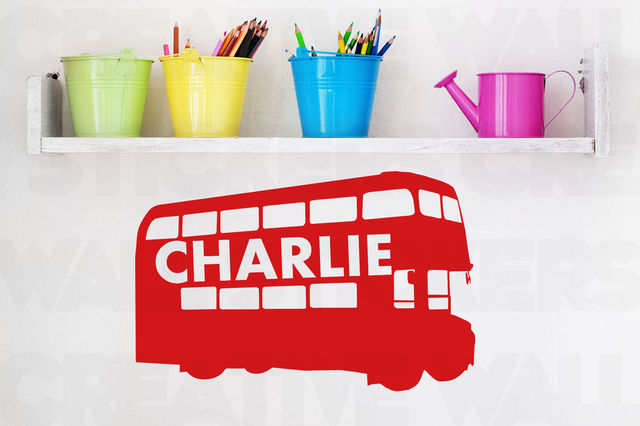 Creative customer made london bus wall sticker personalised boys name wall decals transfer stickers