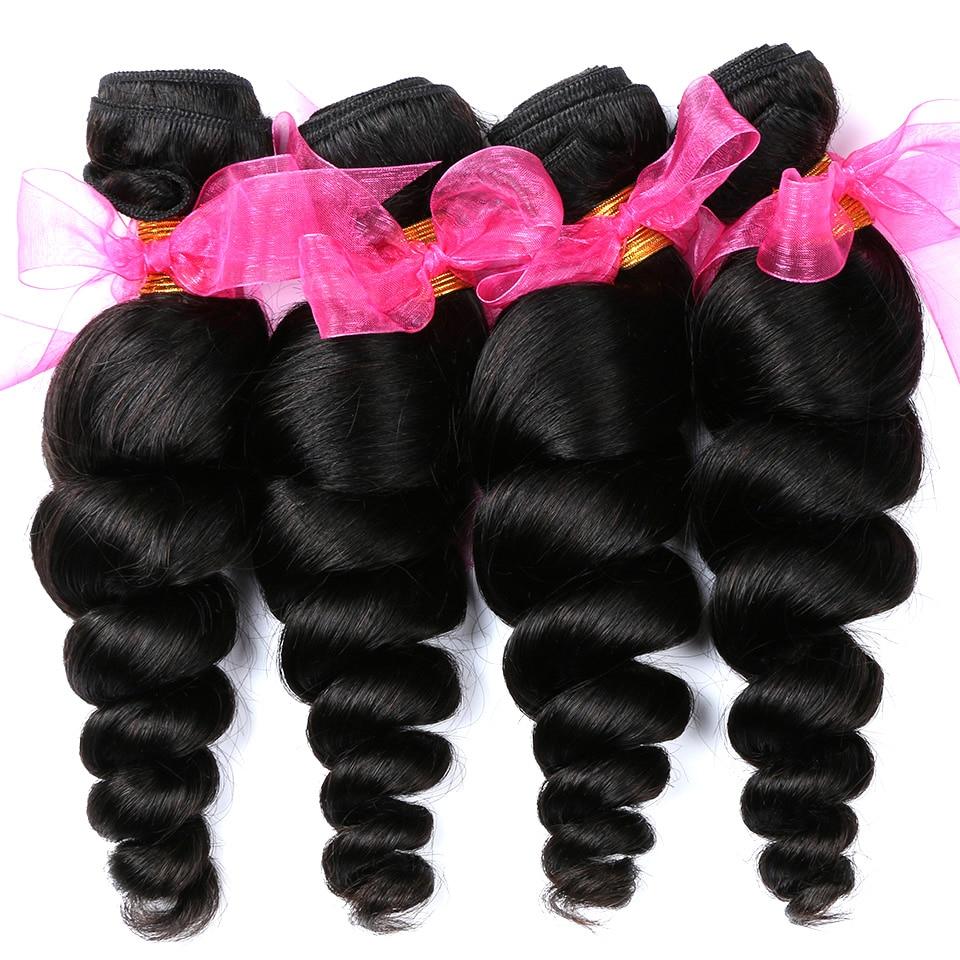 Alishes Hair Brazilian Loose Wave Bundles 4PCS/LOT Human Hair Weave Bundles Doulbe Machine Weft Remy Hair Bundles Free Shipping