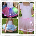 satin ribbon edged two layered tulle ballet skirt tutu with elasticized satin waistband