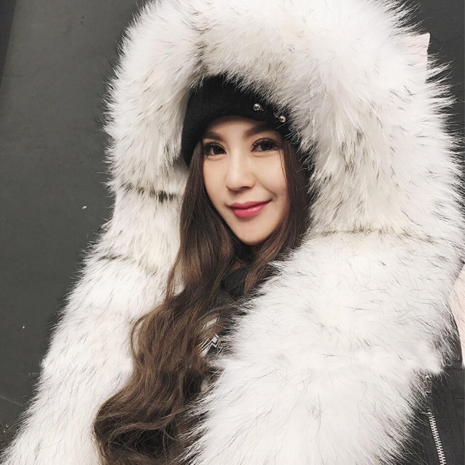 Maylofuer BIG Real fourrure de raton laveur parkas plein raton laveur col de fourrure manteaux femmes naturel manteau de fourrure pour l'hiver chaud parka femme