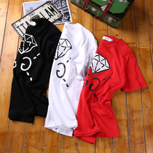 2017 street fashion short-sleeve o-neck diamond male 100% doodle print cotton t-shirt comfortable lovers design