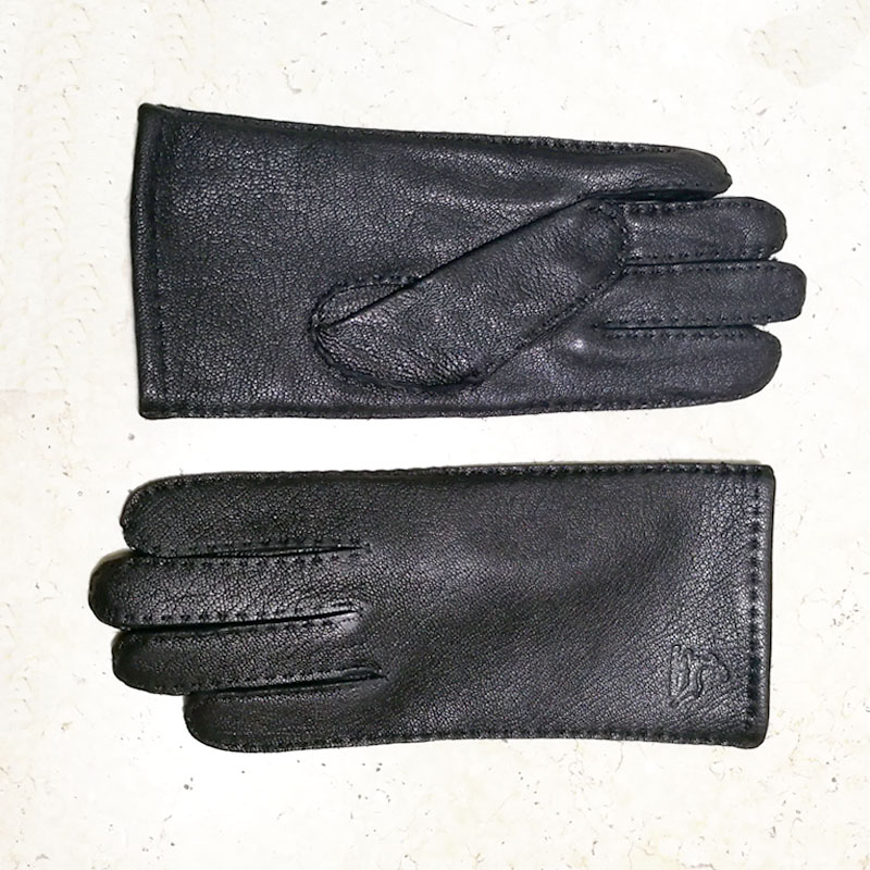 Image 2 - Deerskin gloves women's thin wool lining hand stitched autumn warm outdoor travel black ladies driving leather gloves-in Women's Gloves from Apparel Accessories