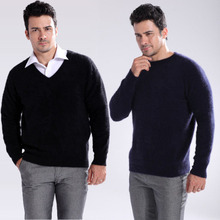 new men's solid color knitted mink cashmere sweater men knit v-neck and o-neck pullovers