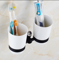European Style Double Cup Holder Toothbrush Holder with Ceramic Cups Black Brass Rack Tumbler Holder Wall Mounted