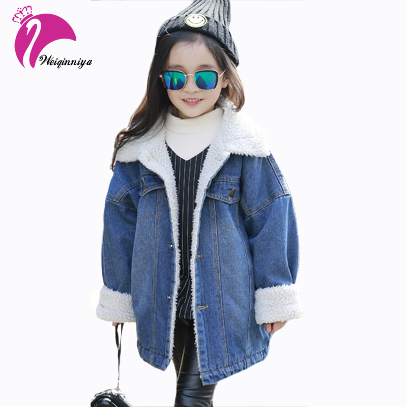 Winter Kids Girls Denim Jacket Children Plus Thick Velvet Coat Baby Cotton Turn-down Collar Clothing Fashion Warming Outerwear